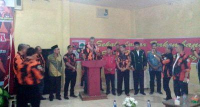Sekretaris Pemuda Pancasila Sumut,  H. Firdaus Nasution menyampaikan pidato di Muscap PP Madina