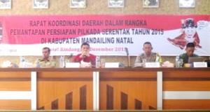 KPU Madina saat Rapat Kordinasi Daerah, Senin
