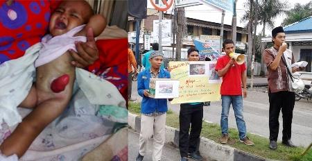 Kurniawan (kiri) dan Aksi Solidaritas mengumpul uang di jalanan Panyabungan (kanan)