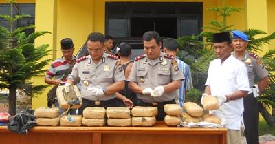 Kapaolres, wakapolres dan kasat Narkoba  Polres Madina bersama barang bukti