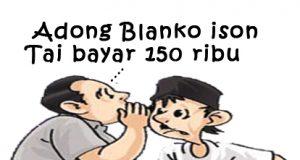 Membisikkan bayar KTP karikatur