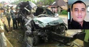 Kondisi mobil yang ditumpangi Murnadi. (inzet) Murnadi Pasaribu